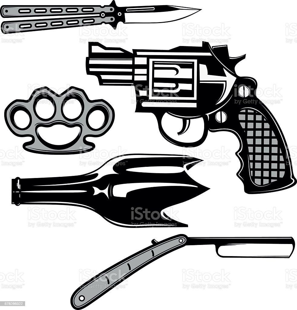 Street crime tools set vector art illustration