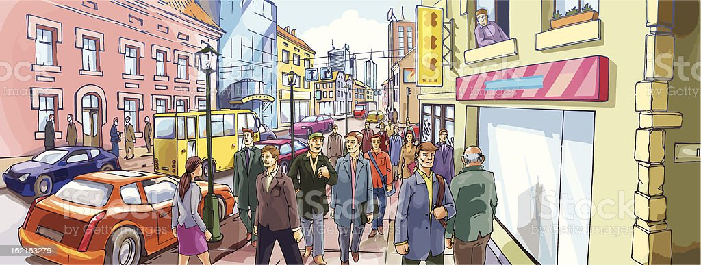 Street Crowd royalty-free stock vector art