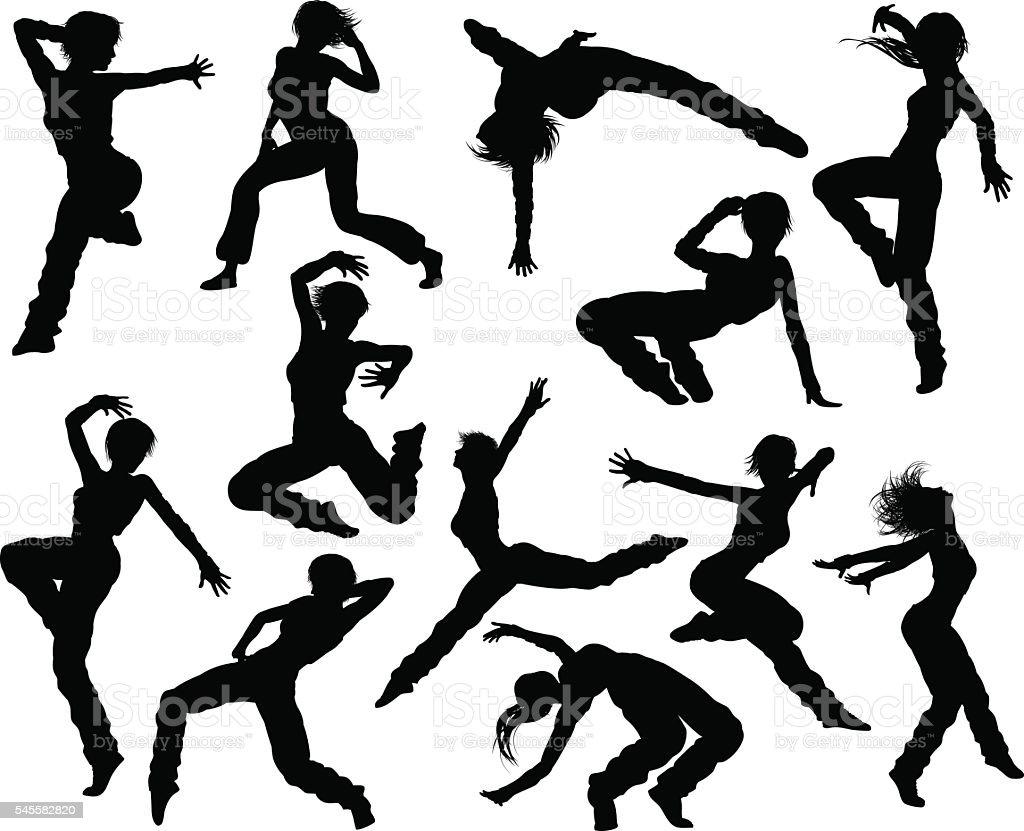 Street Dance Dancer Silhouettes vector art illustration