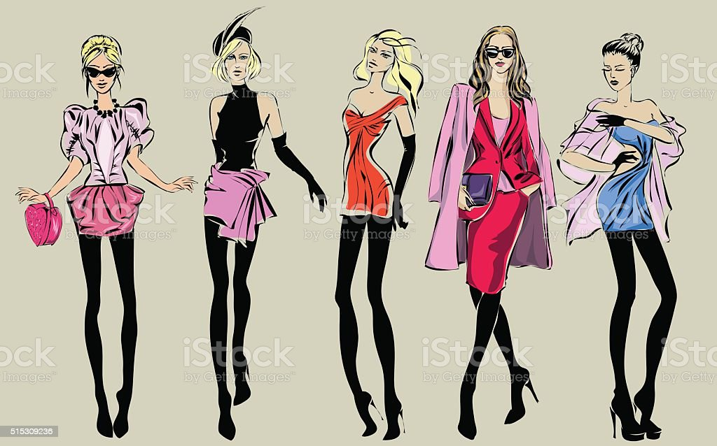 Street fashion woman models in sketch style vector art illustration