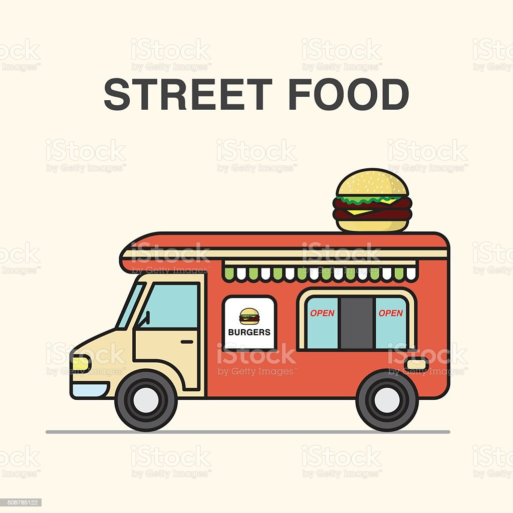 Street food burgers van. vector art illustration