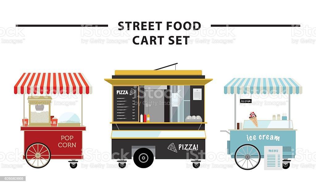 Street food cart vector illustration set vector art illustration