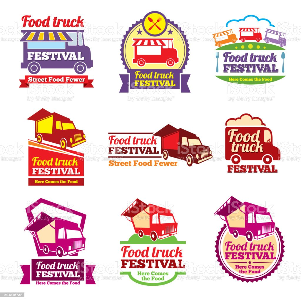 Street food festival color labels vector set vector art illustration