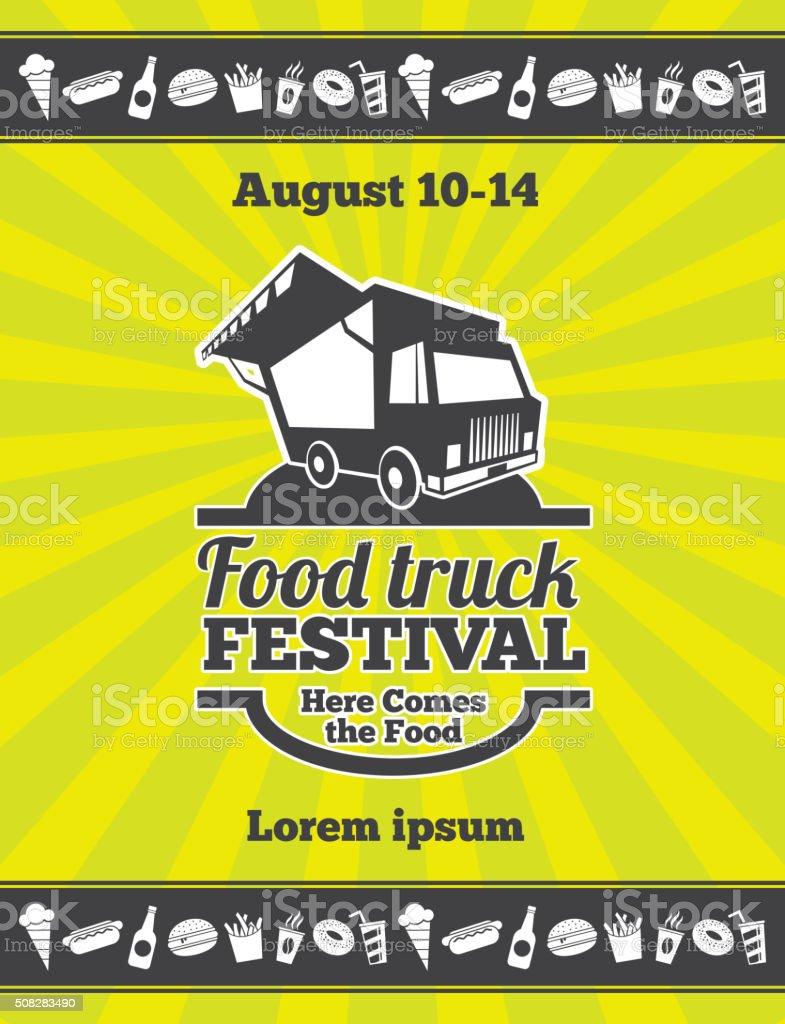 Street food festival design of vector poster vector art illustration