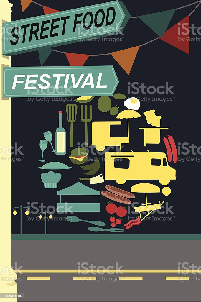 Street food festival pamphlet vector art illustration