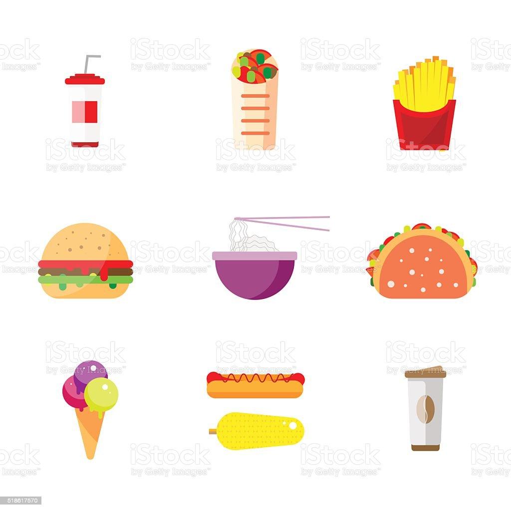 Street food flat design vector art illustration