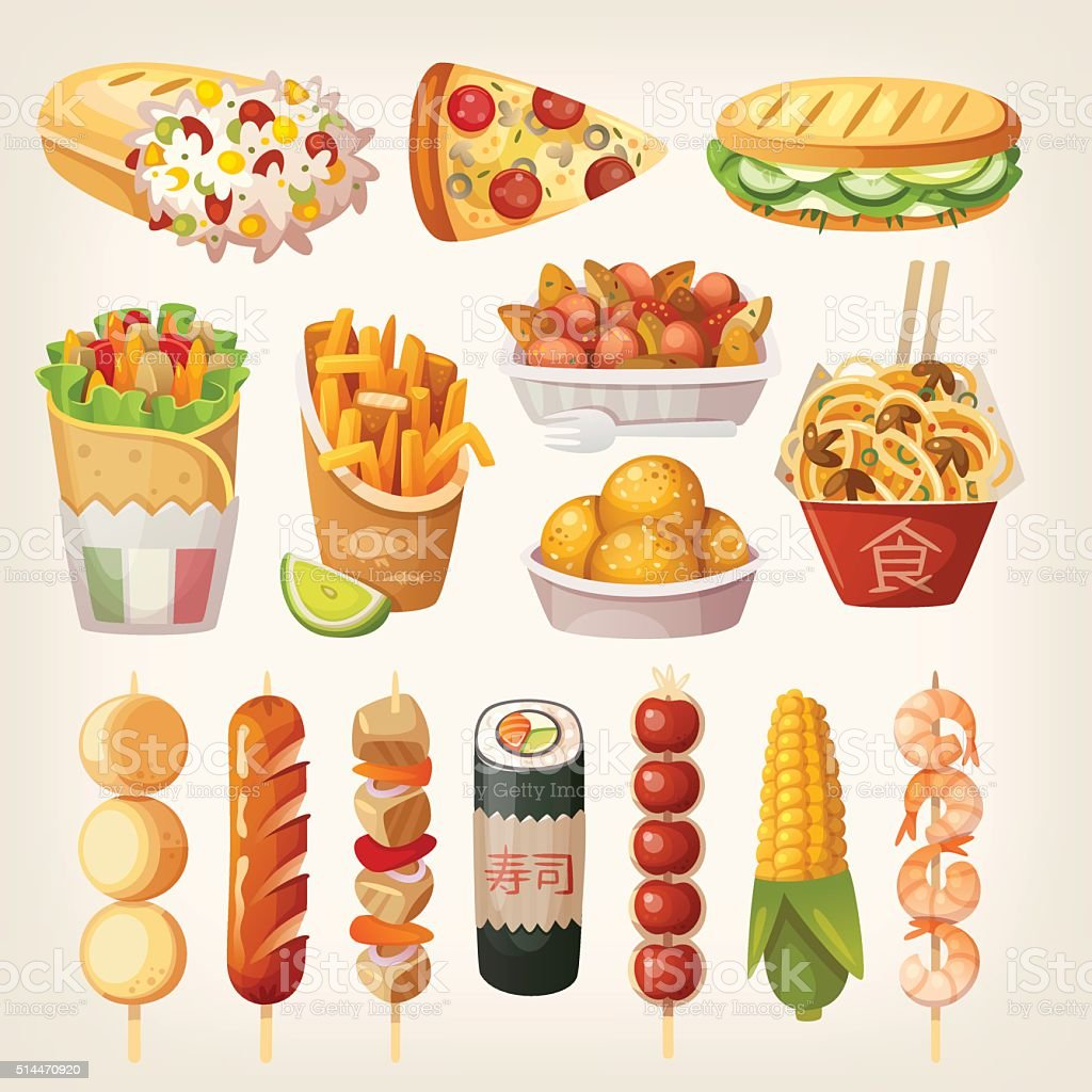 Street food from different countries of the world vector art illustration