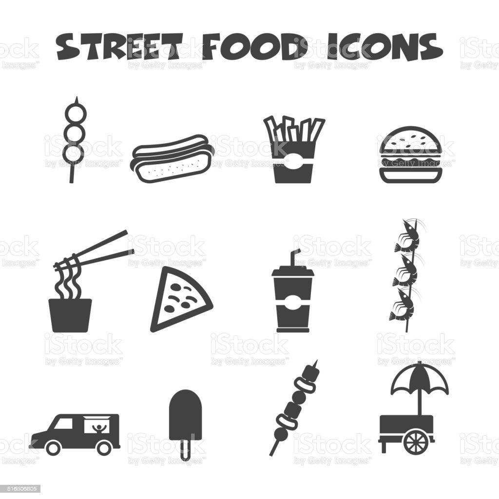 street food icons vector art illustration