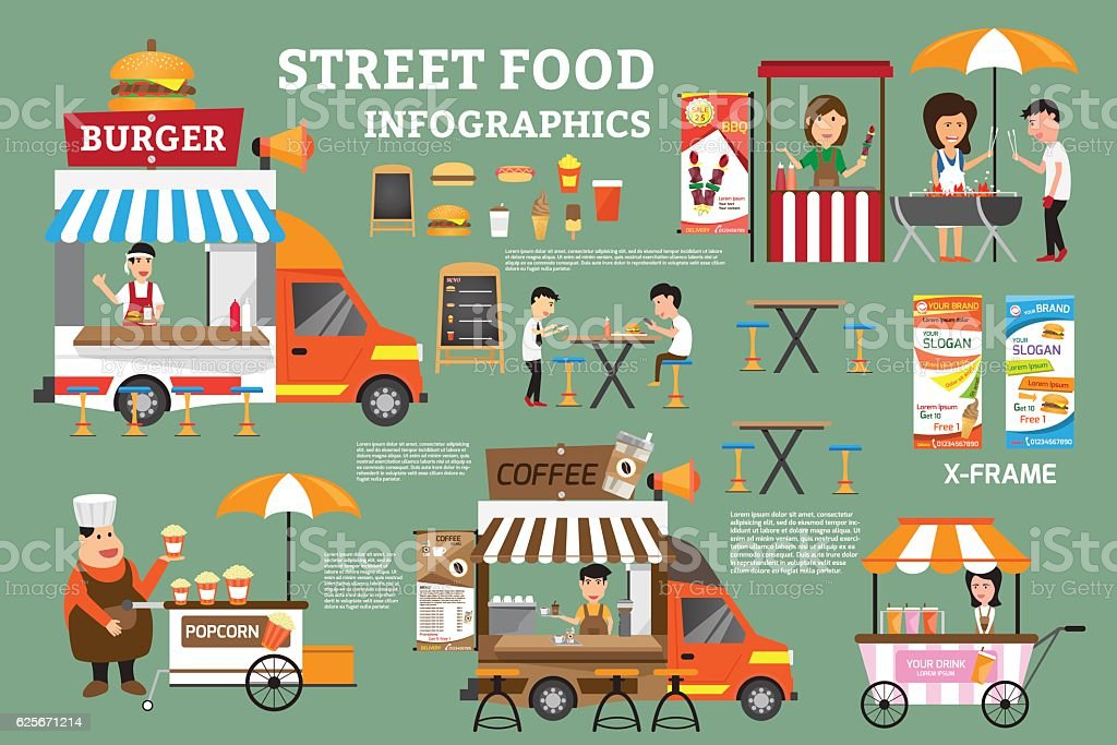 street food infographics elements. Detail of food carts with sel vector art illustration