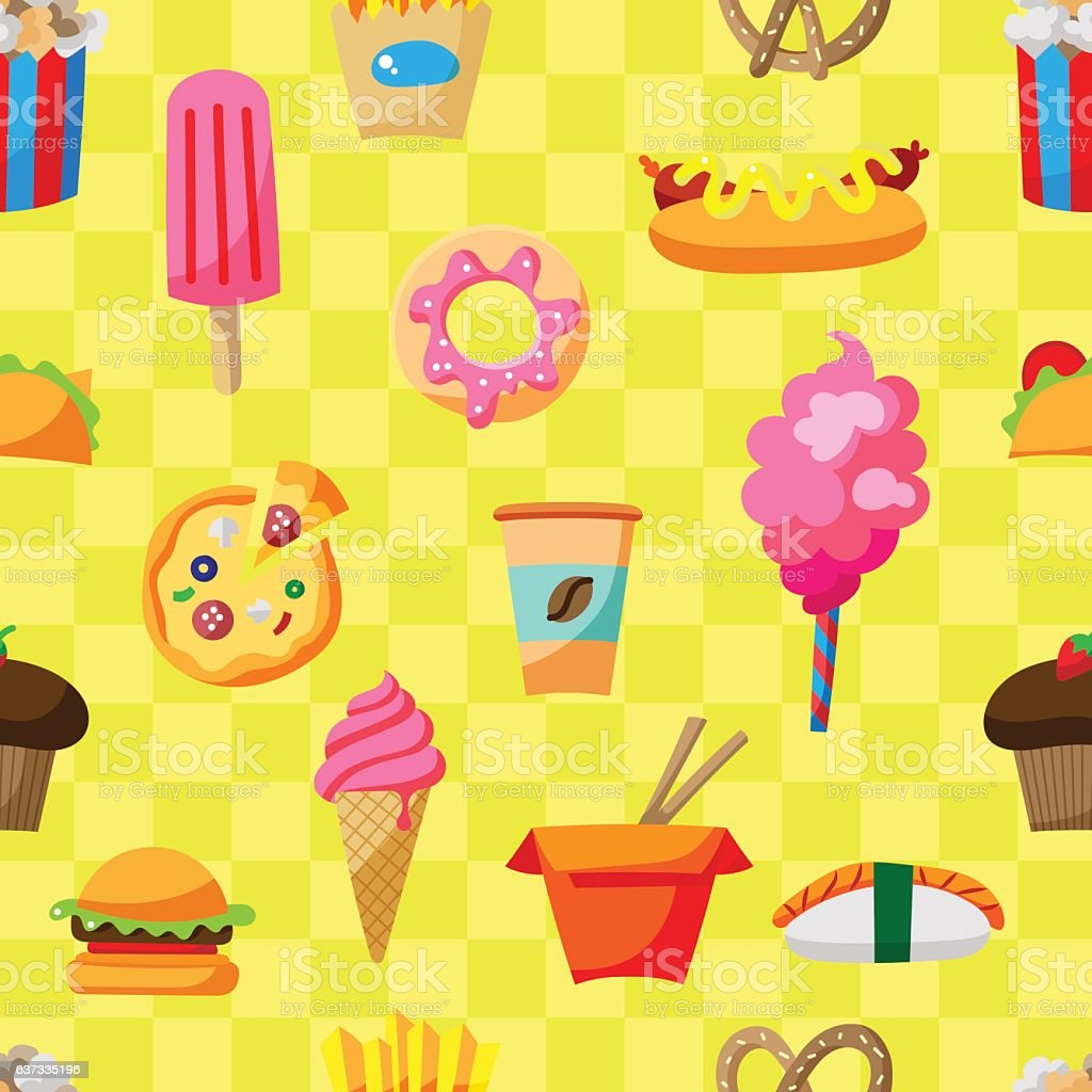 Street food seamless pattern with cartoon illustrations vector art illustration