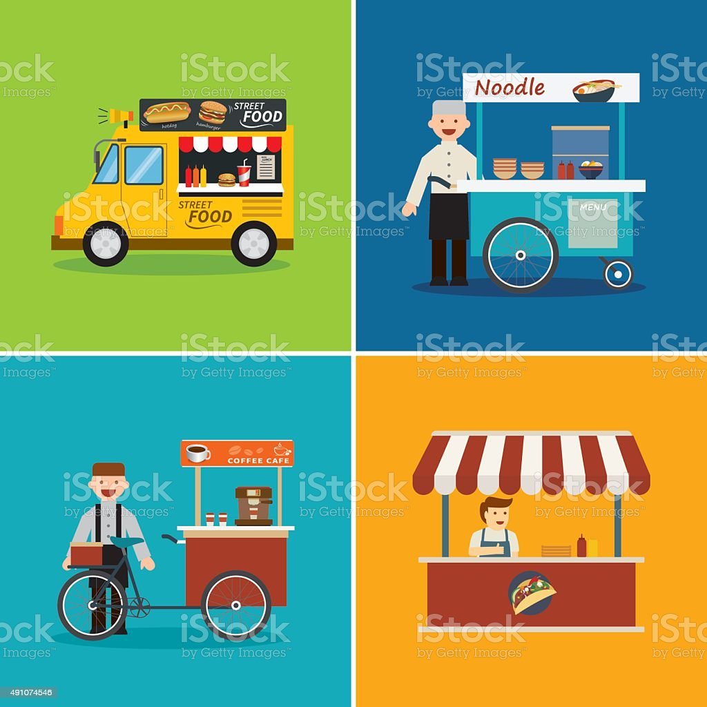street food shop flat design vector art illustration