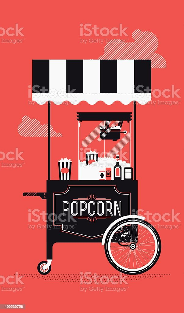 Street food vending cart with popcorn machine vector art illustration