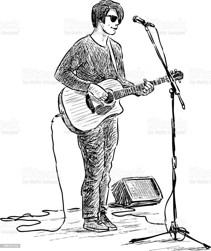 street guitarist vector art illustration