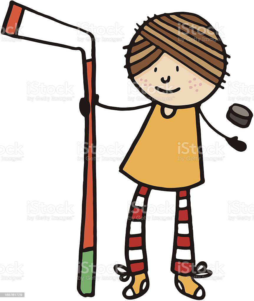 Street hockey player with stick and puck vector art illustration