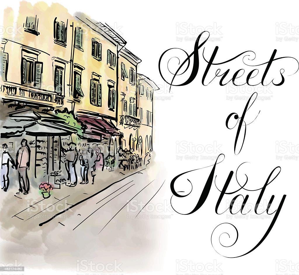 street in Italy vector art illustration