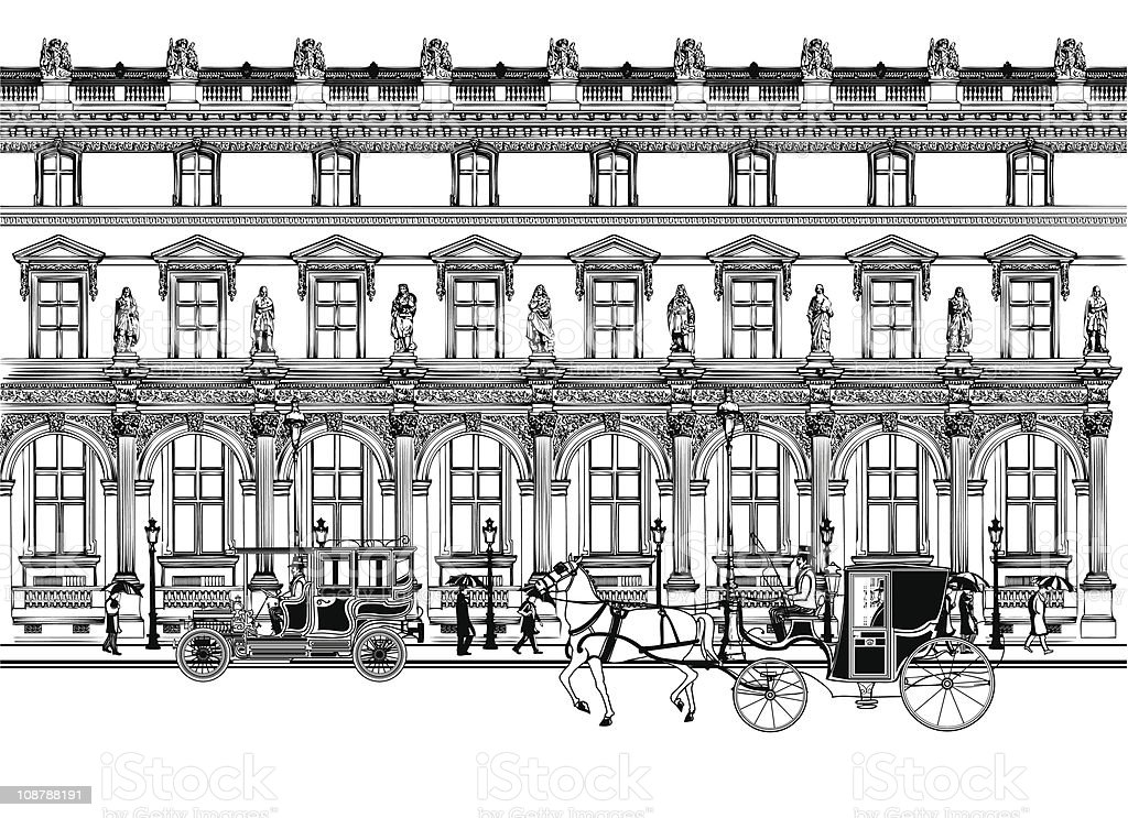 street in Paris with horse carriage and old car vector art illustration
