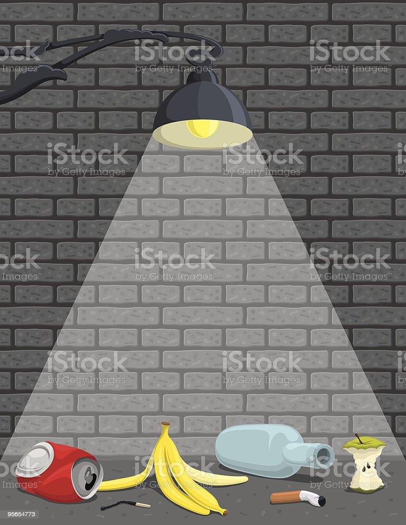 Street lamp illuminating garbage next to gray brick wall vector art illustration