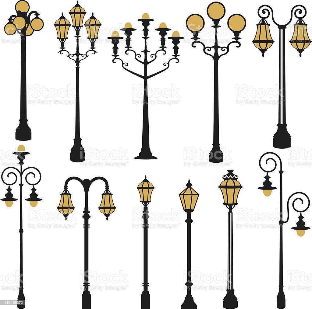street lamp set vector art illustration