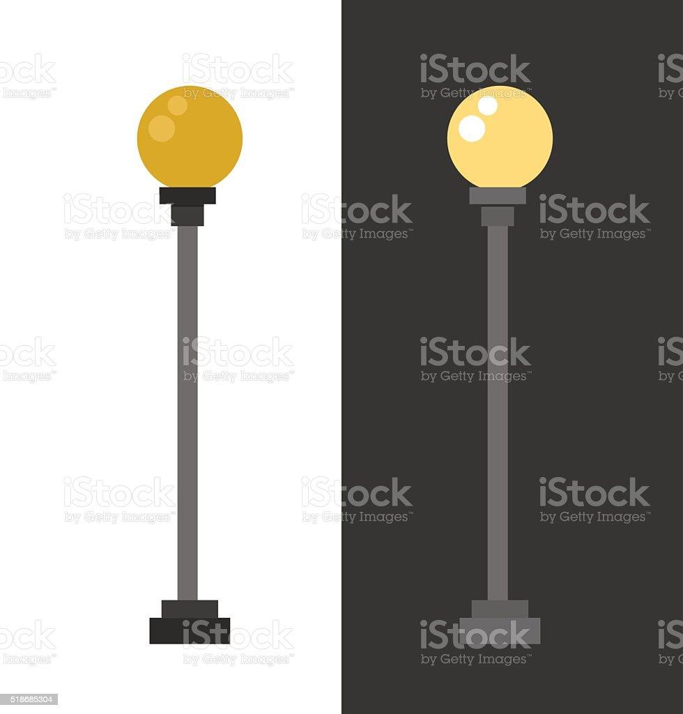 Street lamp urban lantern light flat vector illustration vector art illustration