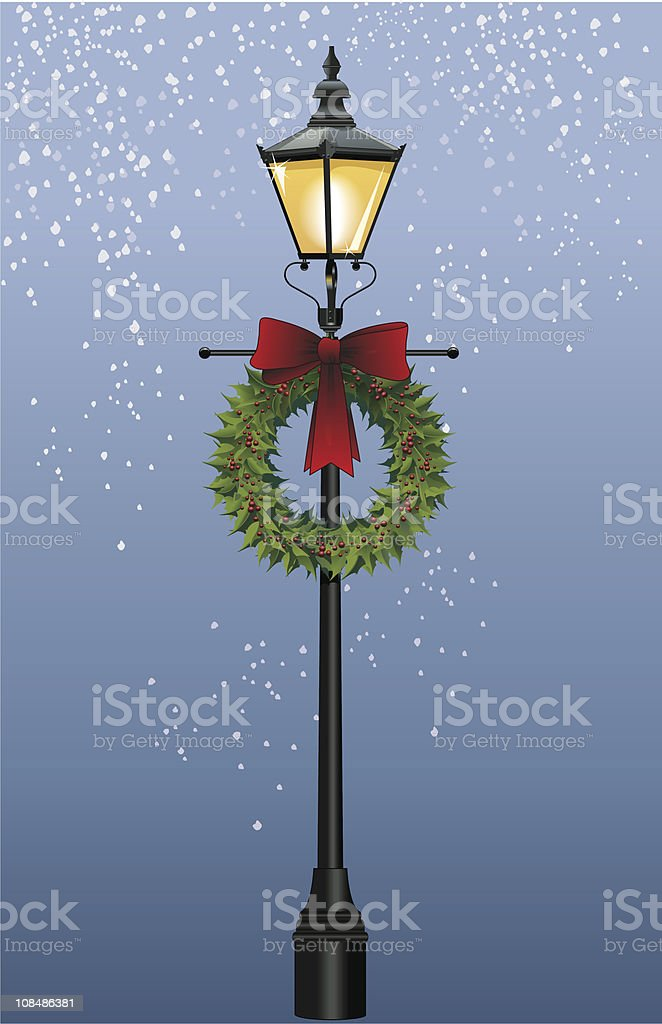 Street Lamp with Wreath (Vector) vector art illustration