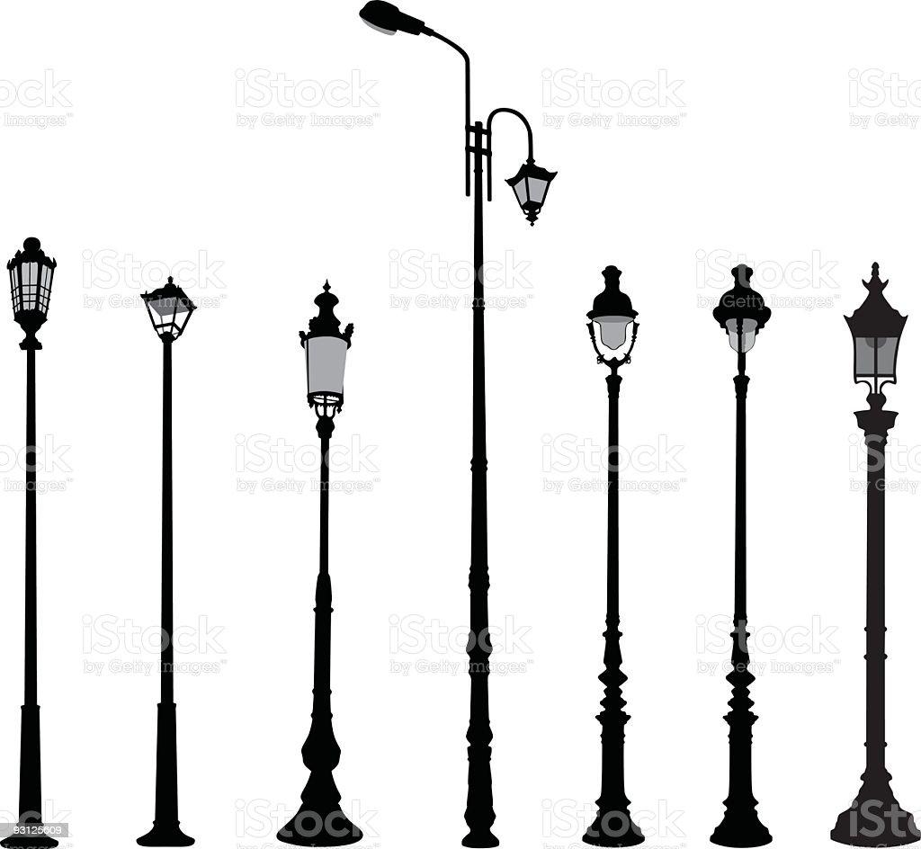 Street lamps vector art illustration
