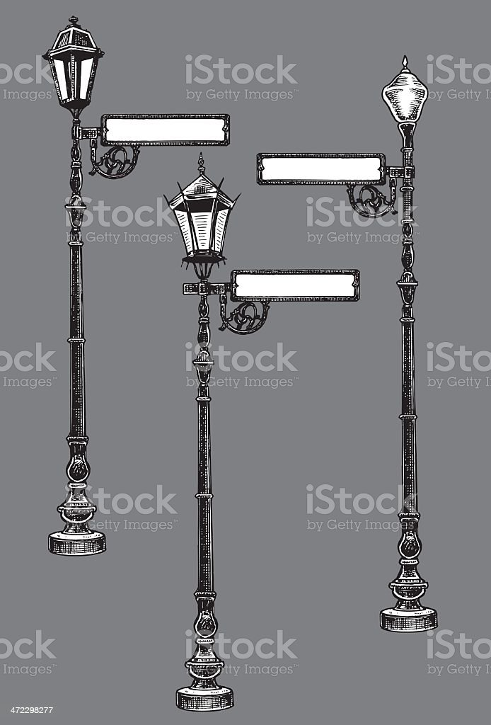 Street Lamps with Sign royalty-free stock vector art