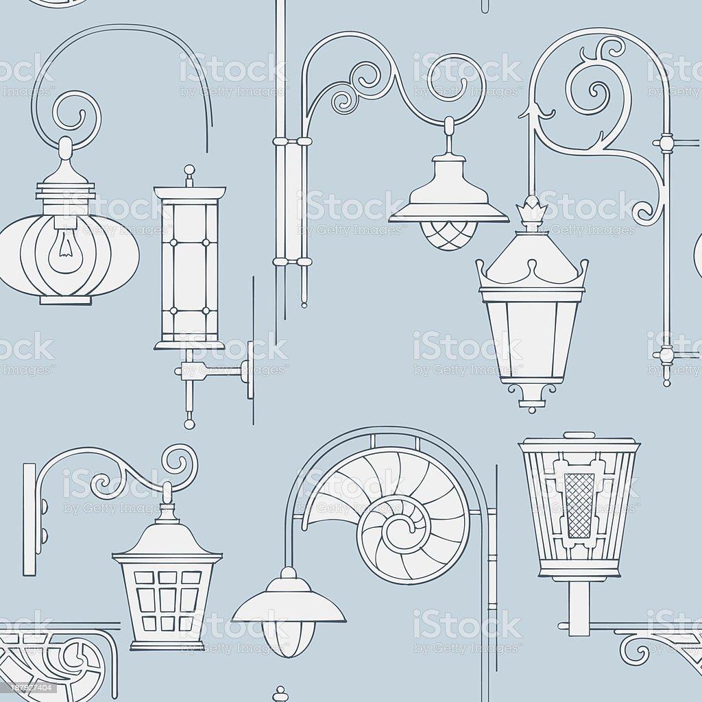 Rua lantern padrão sem emendas vetor e ilustração royalty-free royalty-free