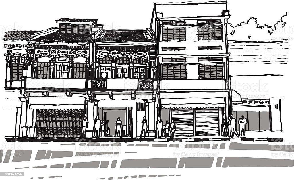 Street life sketchbook vector art illustration