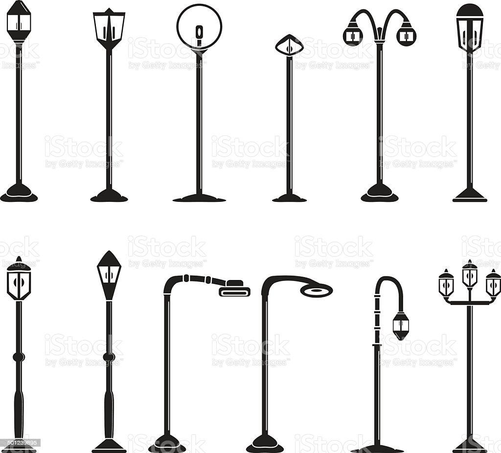 Street lights and lamps set vector art illustration