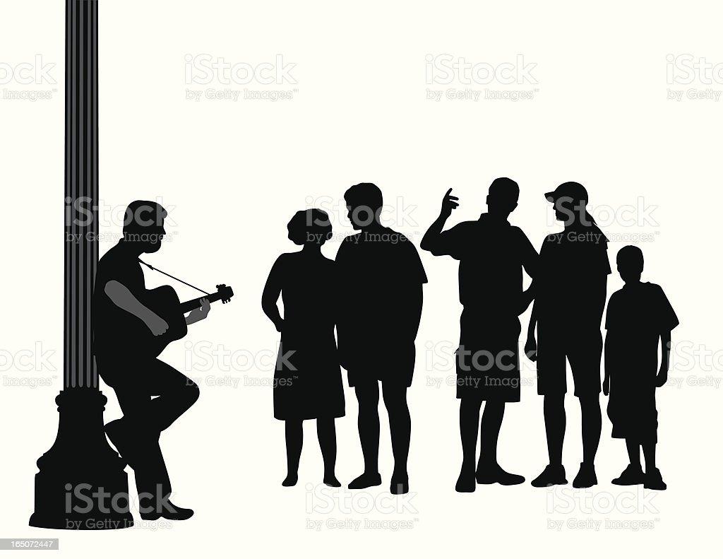 Street Music Vector Silhouette vector art illustration