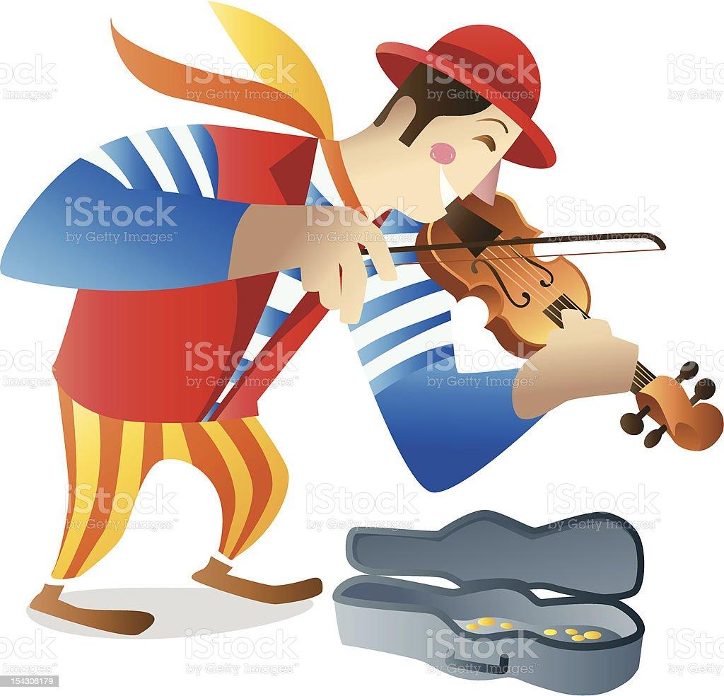 Street musician playing violin vector art illustration