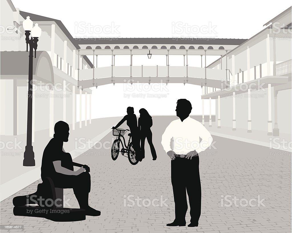 Street Musician Vector Silhouette vector art illustration