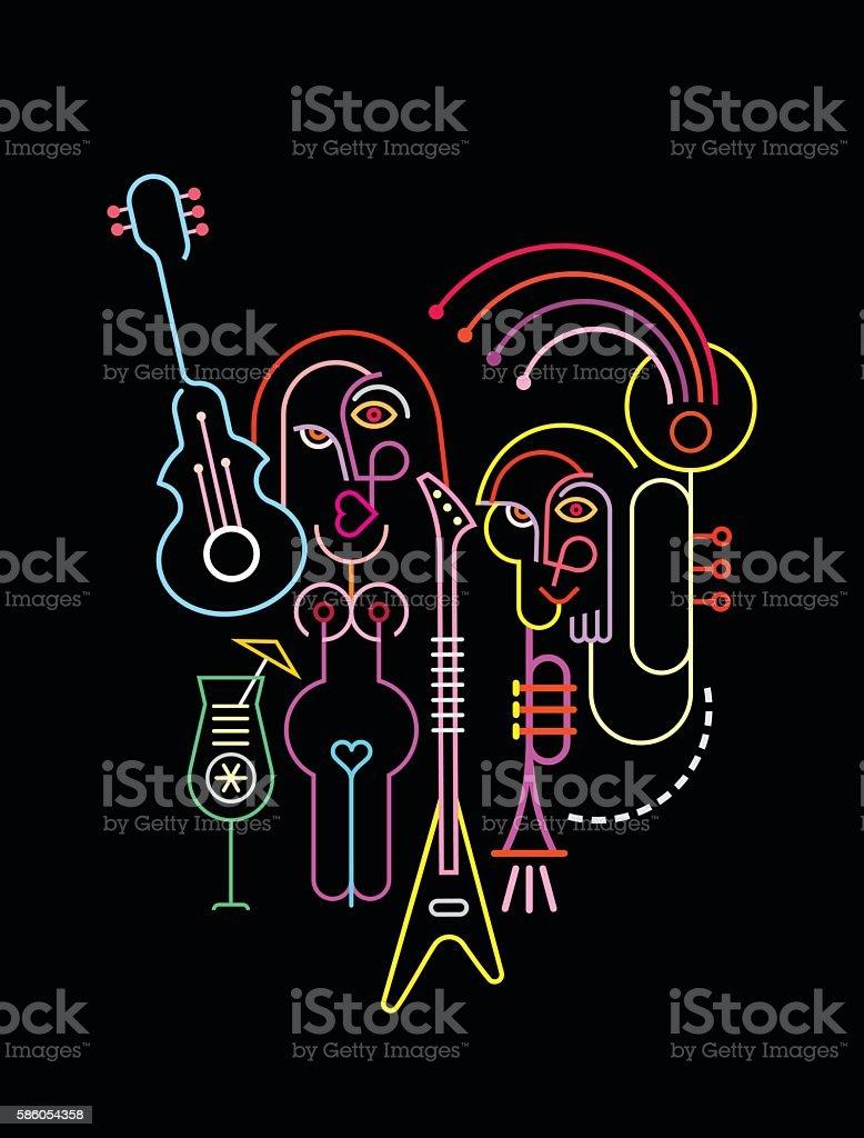 Street Musicians Abstract Art Composition vector art illustration