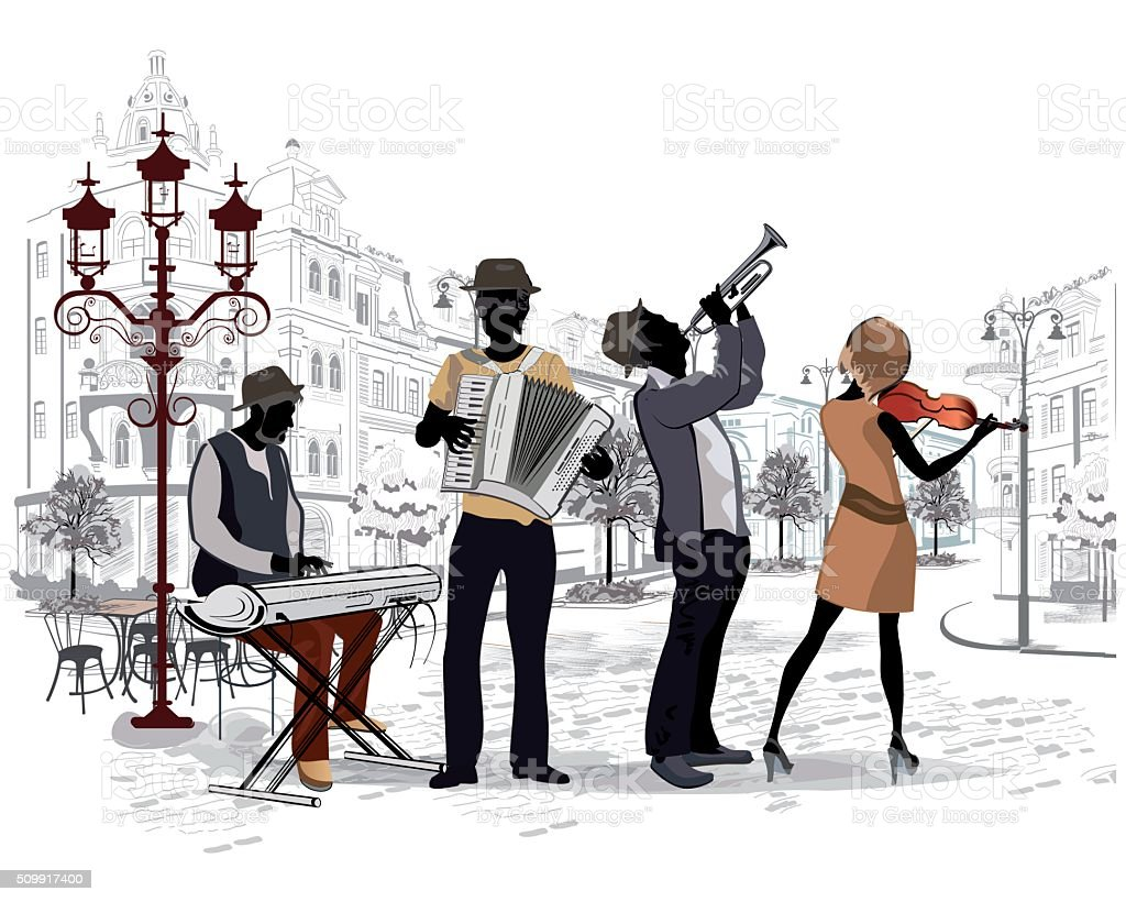 Street musicians in the streets of the old city. vector art illustration