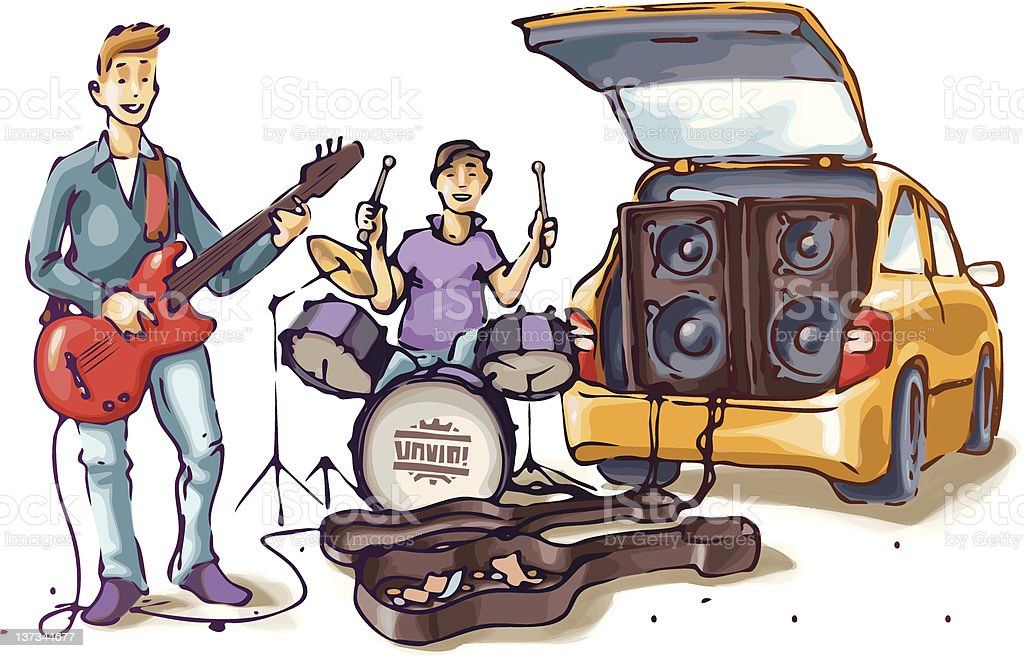 Street musicians vector art illustration