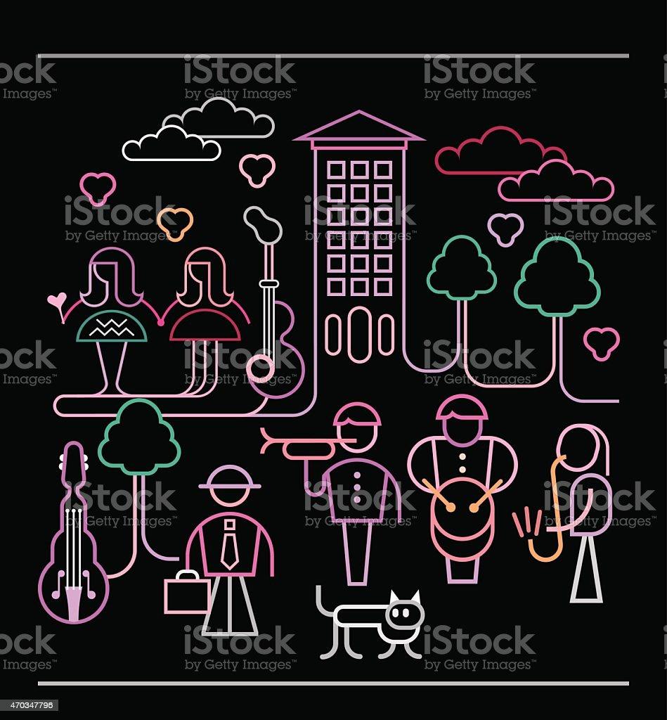 Street Musicians vector illustration vector art illustration