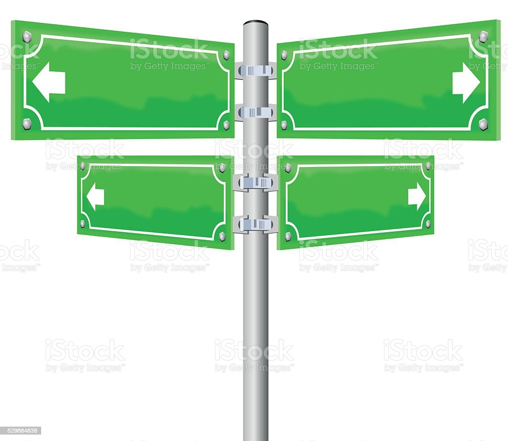 Street Name Signs Four Directions vector art illustration