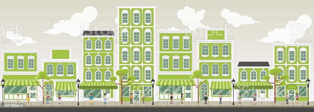 Street of a city with people vector art illustration