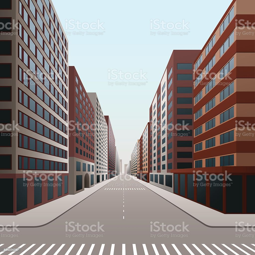 street of the city with office buildings vector art illustration