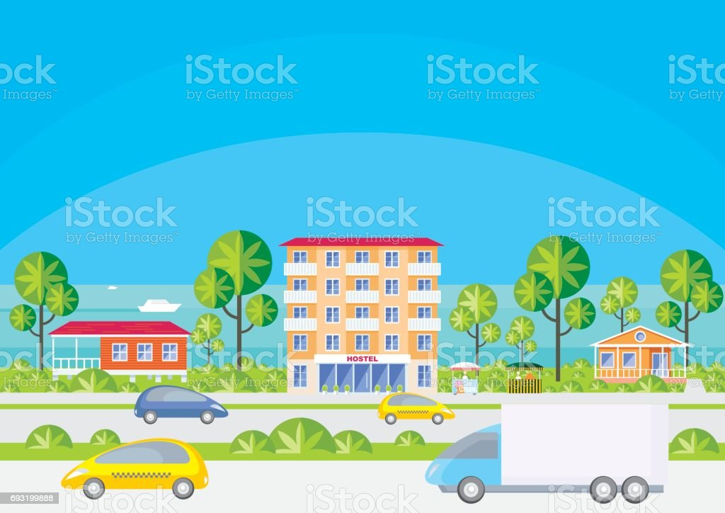 street of the coastal city vector art illustration