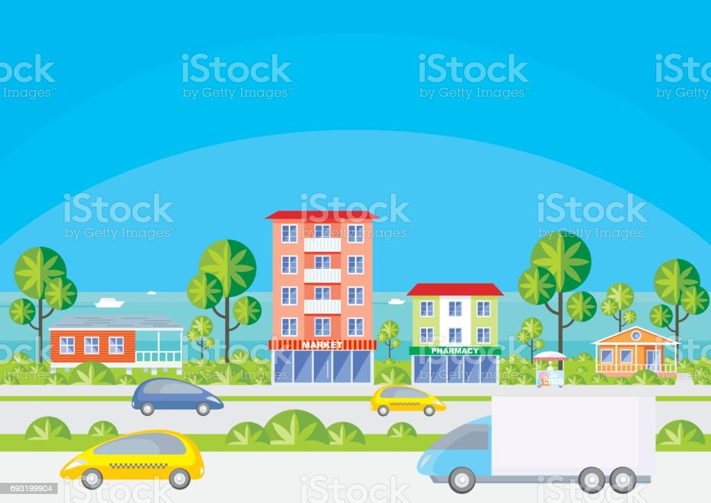 street of the seaside city vector art illustration
