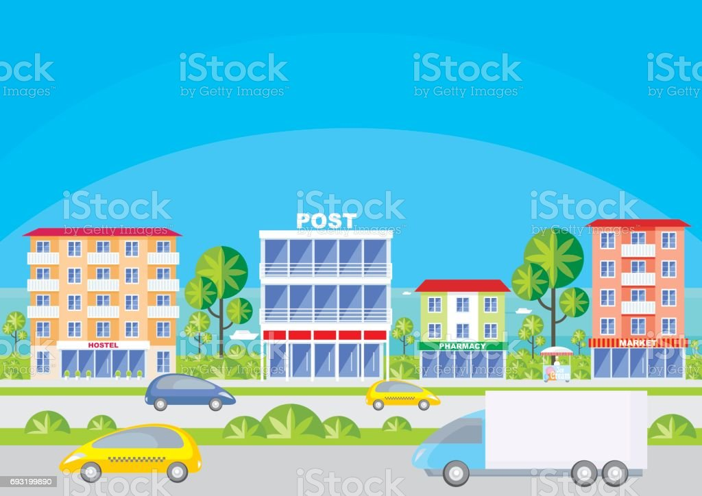 street of the southern city vector art illustration
