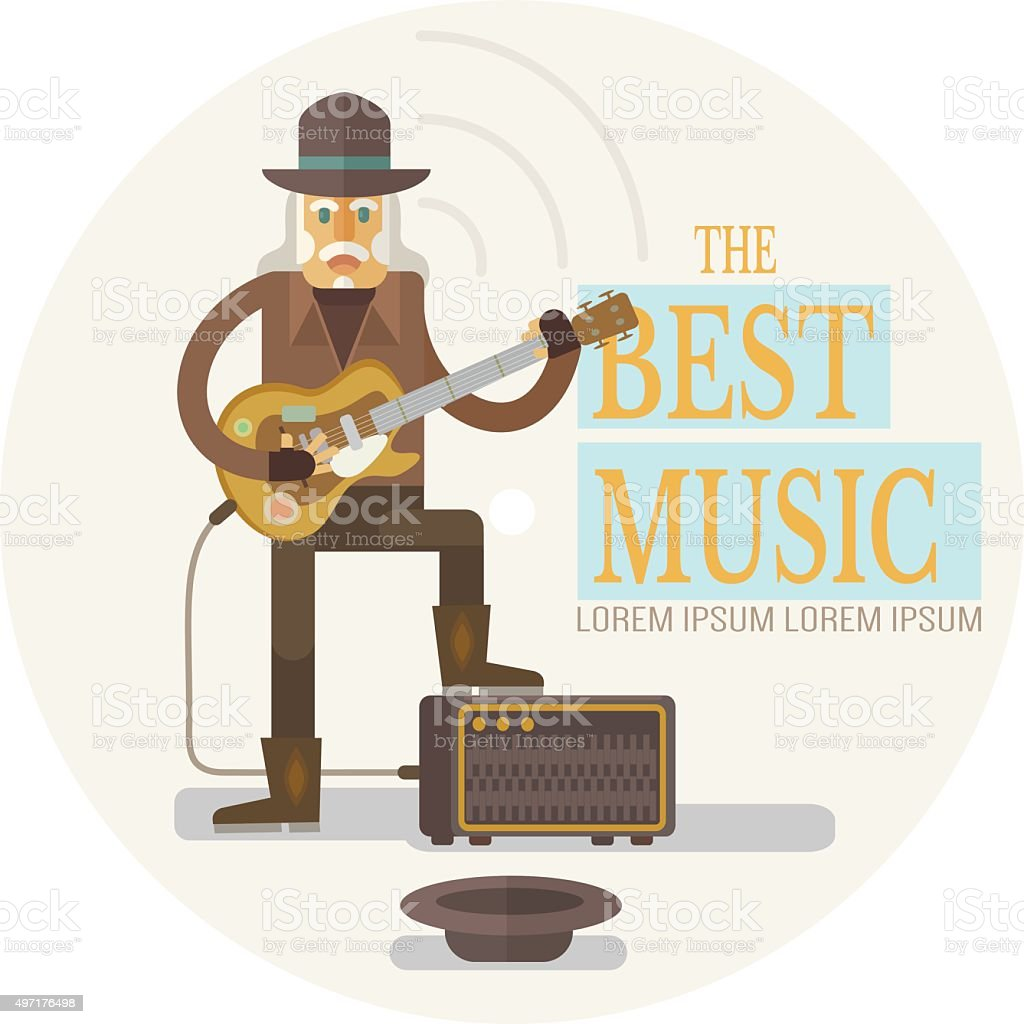 Street old rock musician playing guitar vector art illustration