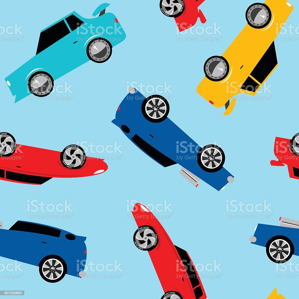 Street racing cars in a seamless pattern vector art illustration