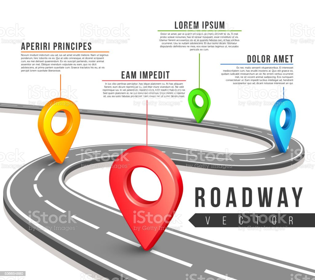 Street road map for vector business infographics design vector art illustration