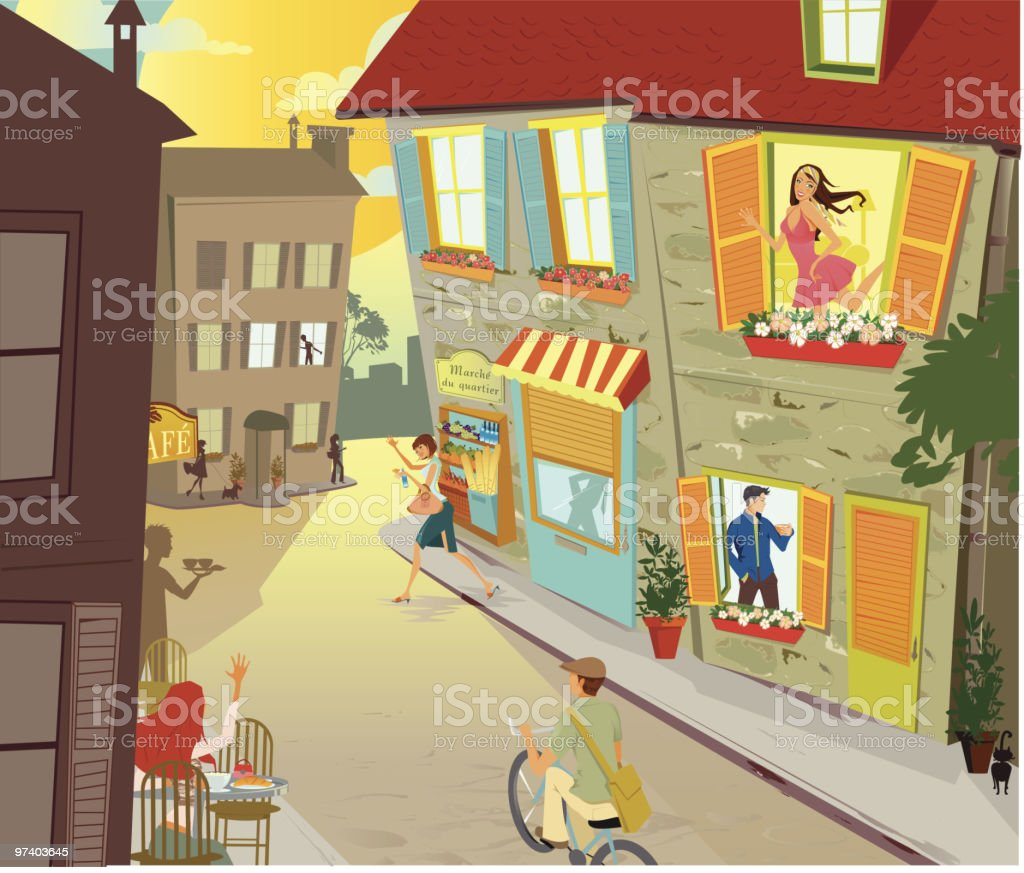 Street Scene in Small Village with Happy People royalty-free stock vector art