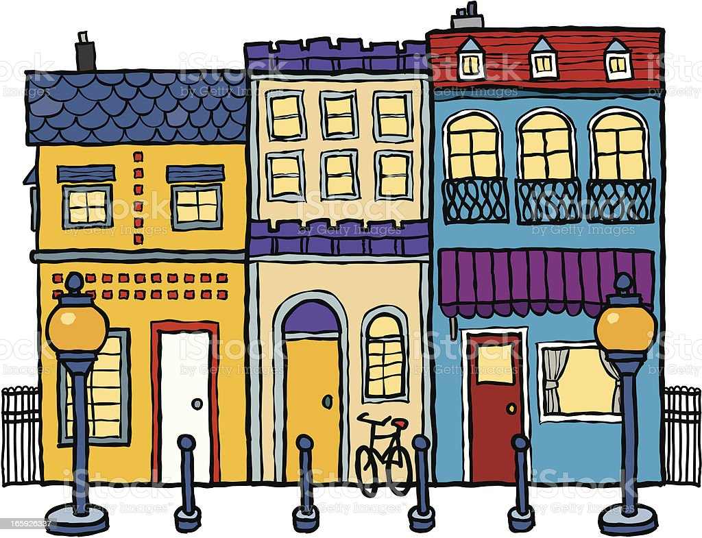 Street Scene vector art illustration
