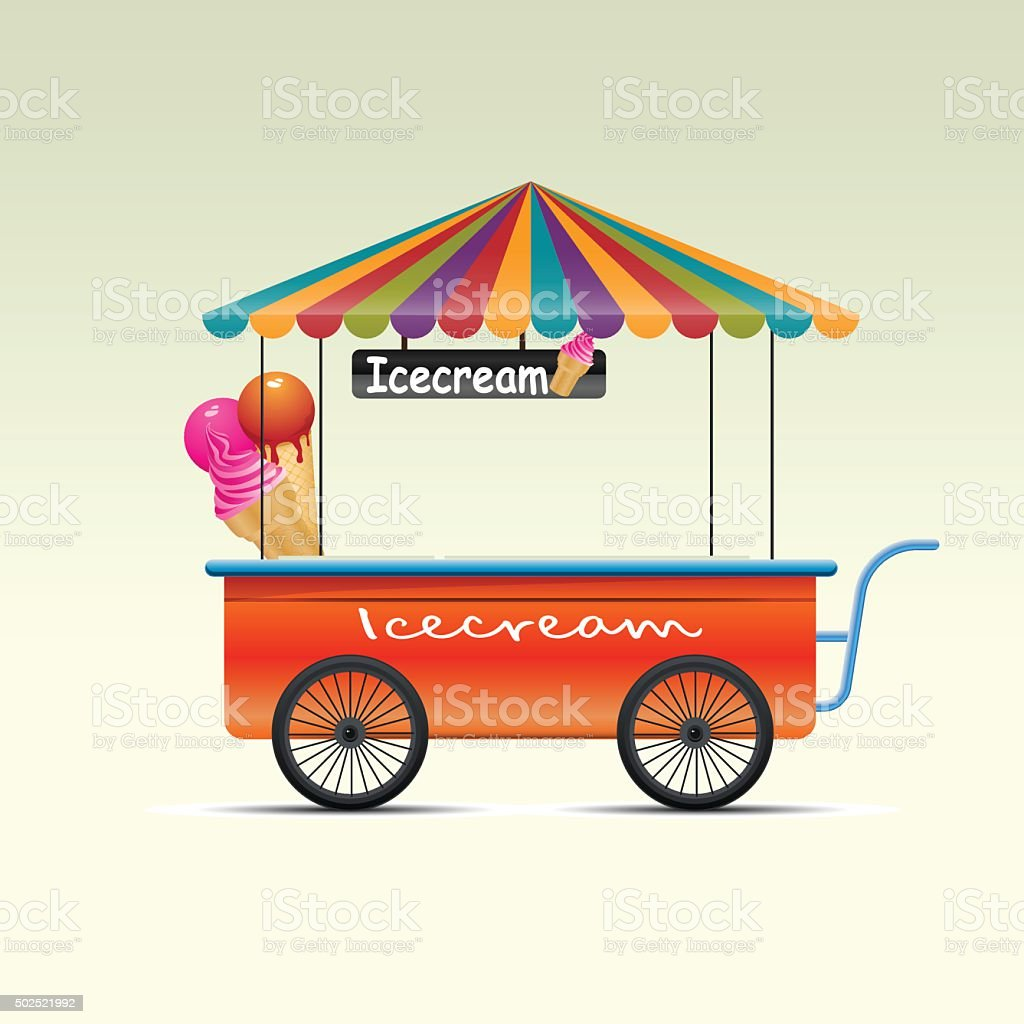 Street Shopping Cart vector art illustration
