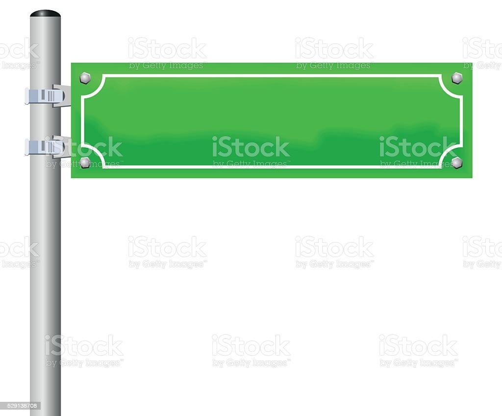 Street Sign Blank Green vector art illustration