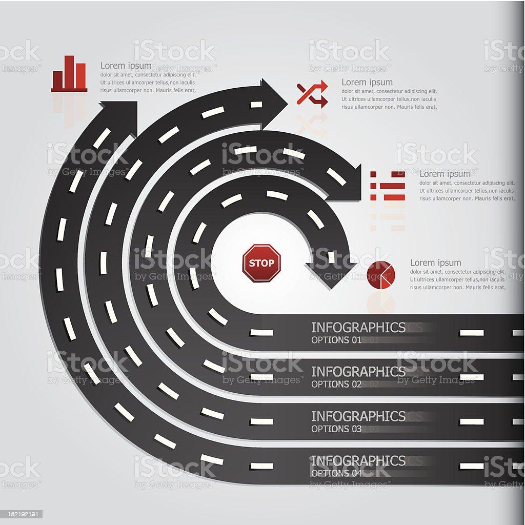 Street & Sign Infographics Design Template vector art illustration